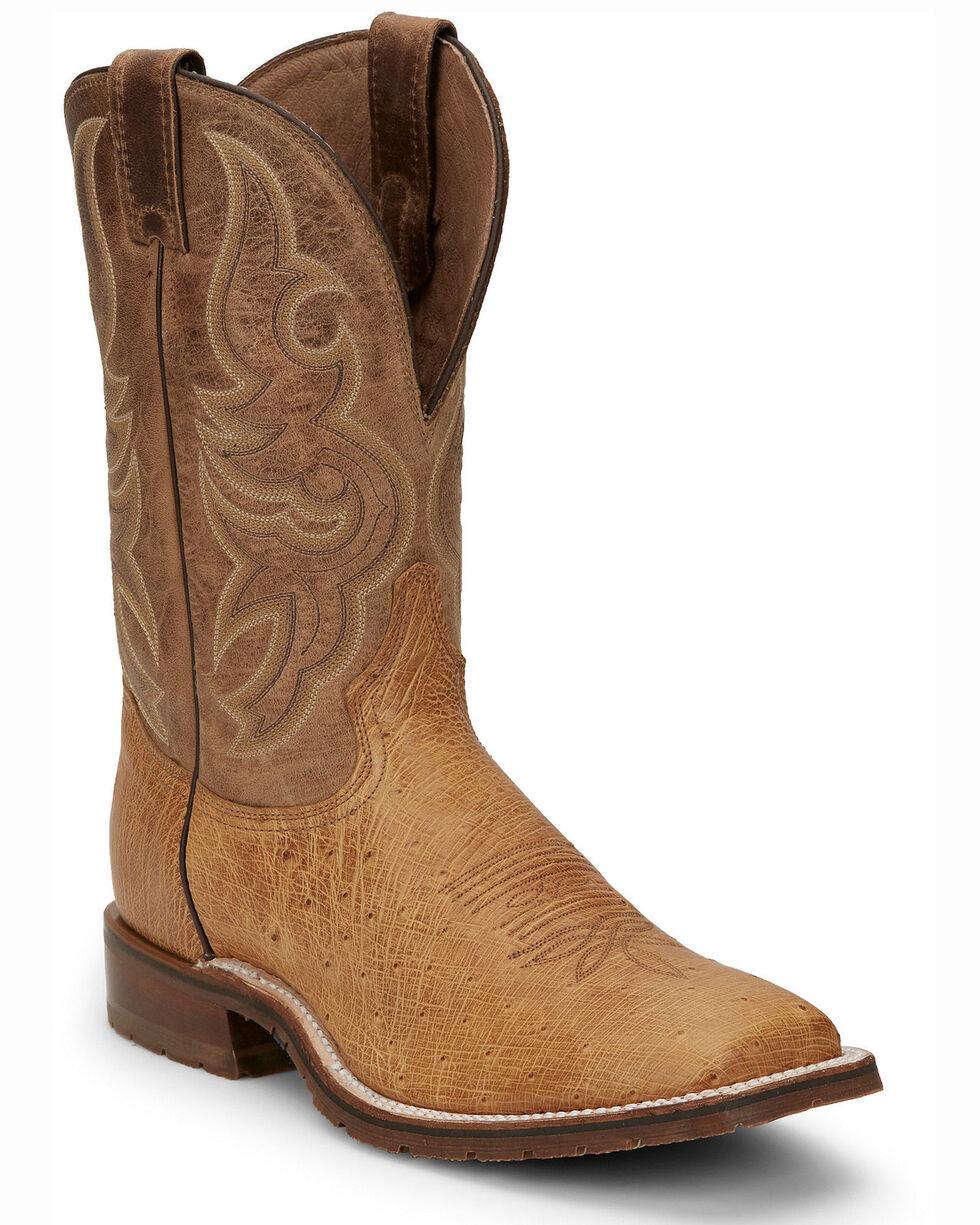 Tony Lama TRAVIS ANTIQUE TAN Smooth Ostrich Cowboy Boots Square Toe O4176