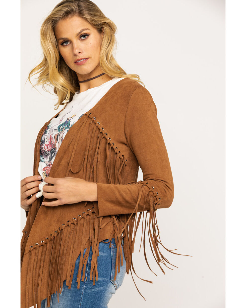 Vocal Women's Camel Faux Suede Fringe Cardigan , Camel, hi-res