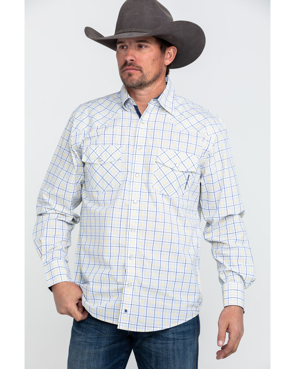 Resistol Men's American Med Plaid Long Sleeve Western Shirt , White, hi-res