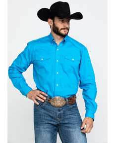 Roper Men's Blue Amarillo Solid Long Sleeve Western Shirt , Blue, hi-res
