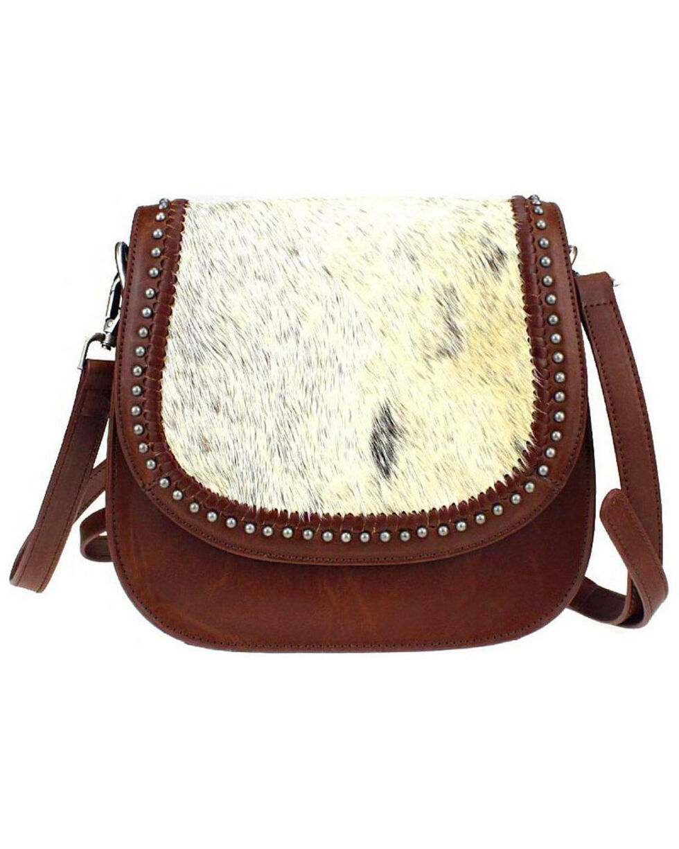 Montana West Delila Saddle Bag 100% Genuine Leather Hair-On Hide Collection , , hi-res