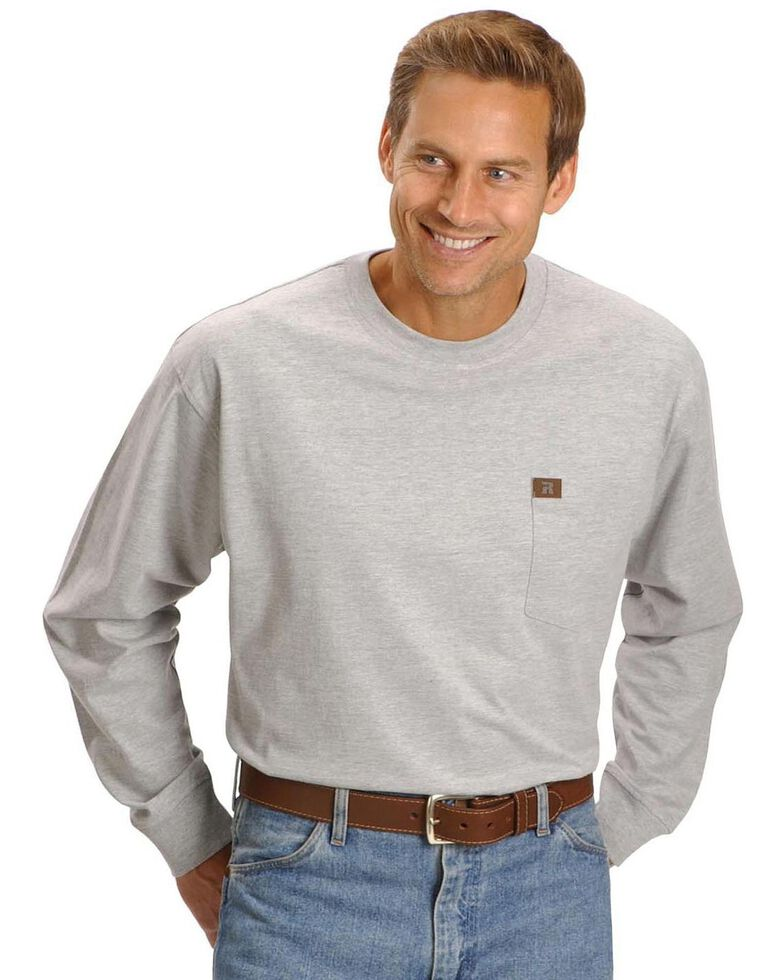 Riggs Workwear Men's Long Sleeve Pocket T-Shirt, Ash Heather, hi-res