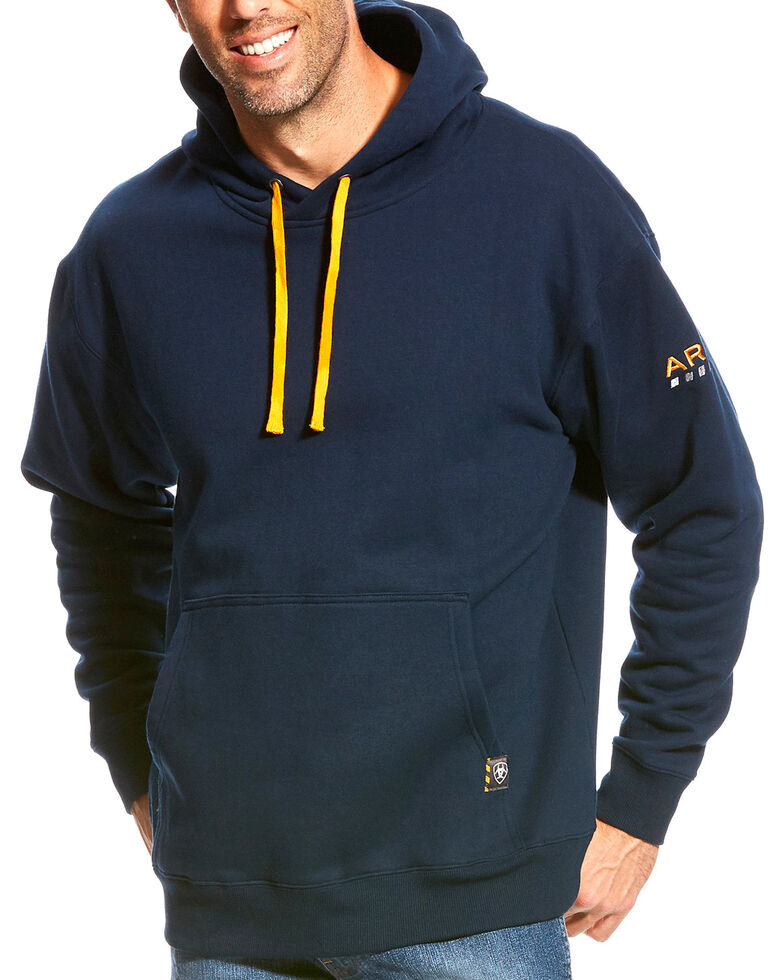 Ariat Men's Rebar Navy Logo Hooded Sweatshirt , Navy, hi-res