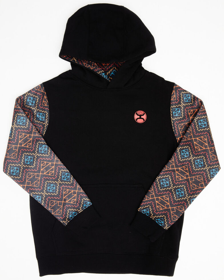 HOOey Boys' Black Aztec Sleeve Rumba Hooded Sweatshirt , Grey, hi-res