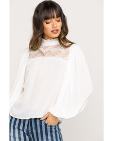 Red Label by Panhandle Women's High Neck Solid Lace Yoke Blouse, White, hi-res