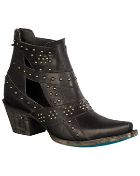 Lane Women's Black Studs & Straps Fashion Boots - Snip Toe , Black, hi-res