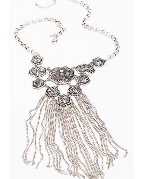 Shyanne Women's 2-Tone Multi Concho Chain Fringe Necklace, Silver, hi-res