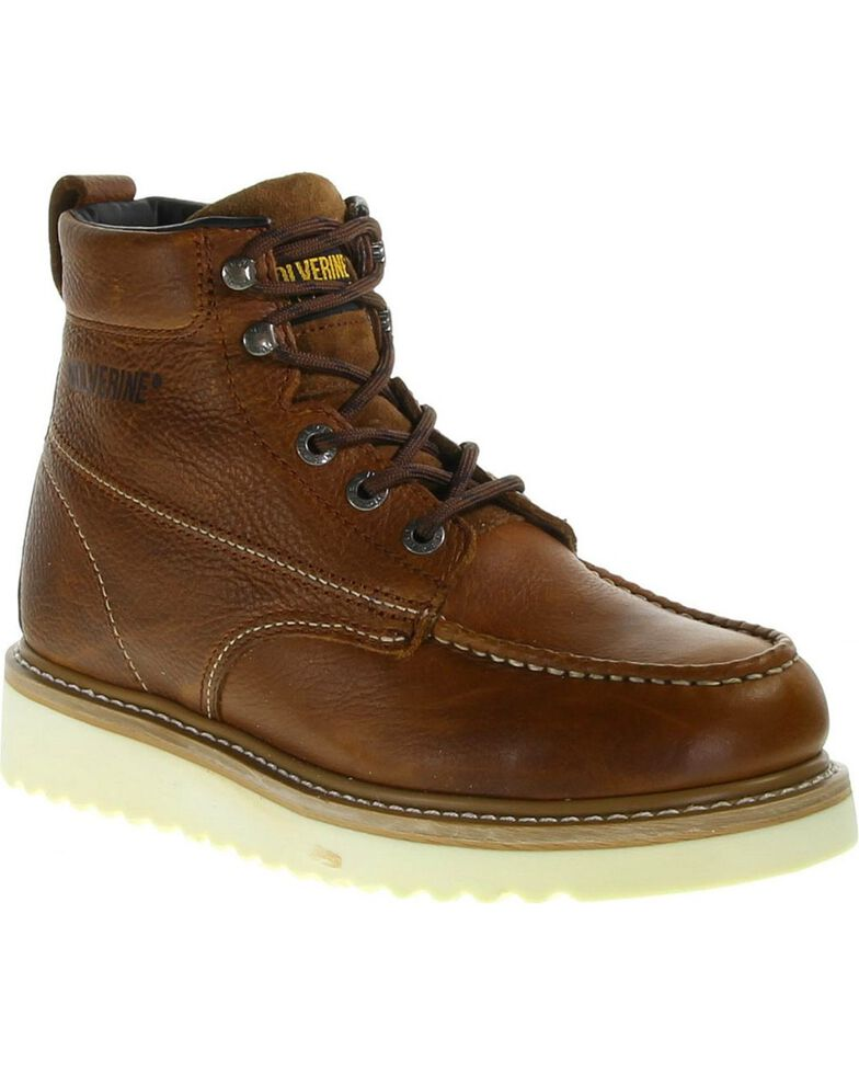 Wolverine Men's Moc Toe Work Boots, Brown, hi-res