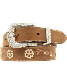 Ariat Women's Floral Rhinestone Concho Belt, Brown, hi-res