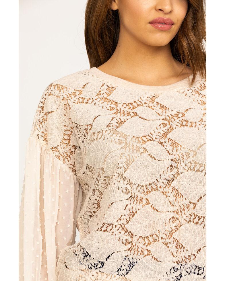 Mystree Women's Blush Allover Lace Dobby Chiffon Top, Blush, hi-res