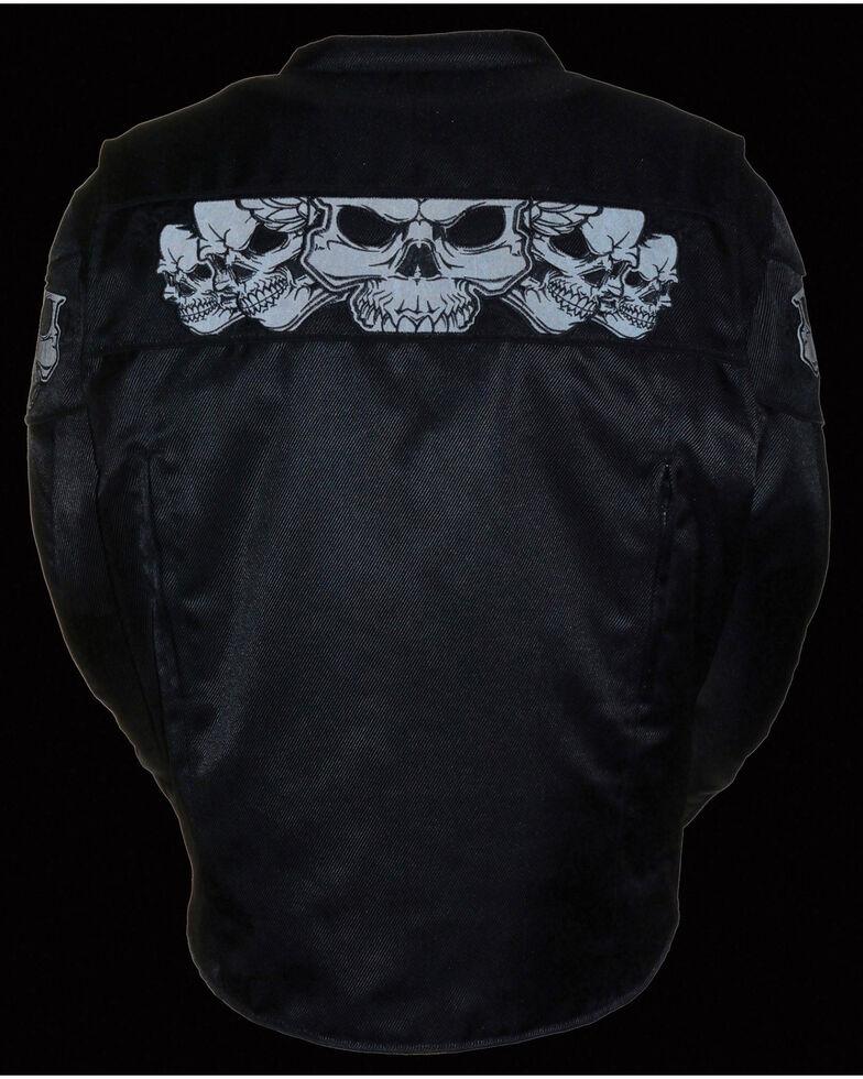 Milwaukee Leather Men's Reflective Skulls Textile Jacket - Big - 4X, Black, hi-res