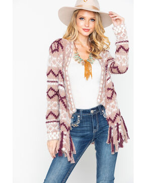 Bits of Beauty Women's Aztec Fringe Cardigan, Blush, hi-res