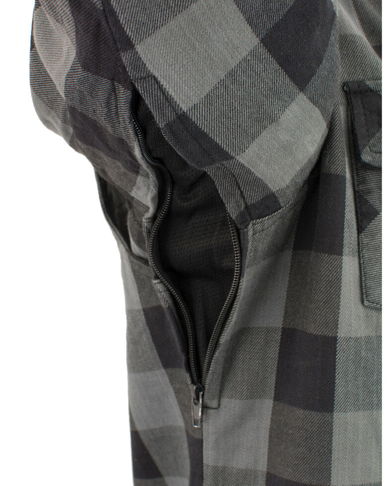 Milwaukee Performance Men's Aramid Checkered Plaid Biker Shirt, Dark Grey, hi-res