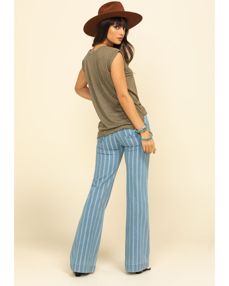 Rock & Roll Cowgirl Women's Light Stripe Trousers, Blue, hi-res