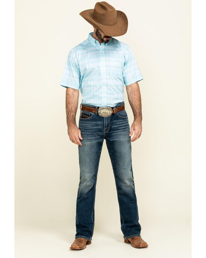 Ariat Men's Neptune Solid Short Sleeve Western Shirt - Big , Blue, hi-res