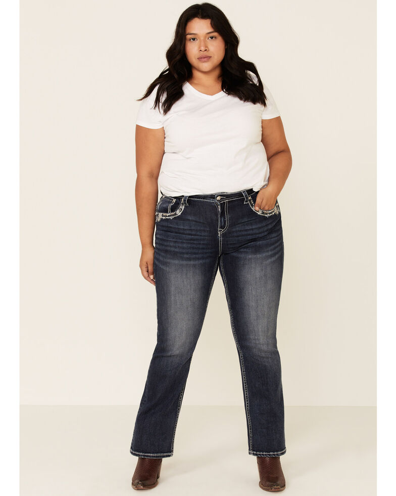 Grace in LA Women's Studded Bootcut Jeans - Plus, Blue, hi-res
