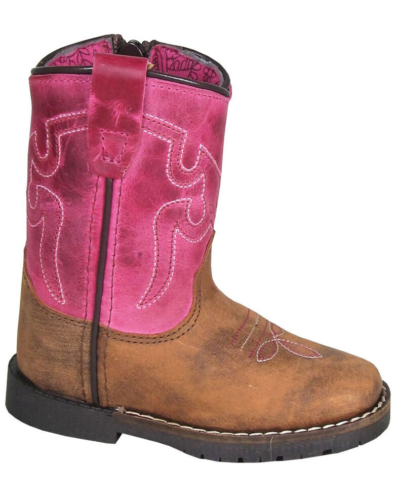 Smoky Mountain Toddler Girls' Autry Western Boots - Square Toe, Brown/pink, hi-res