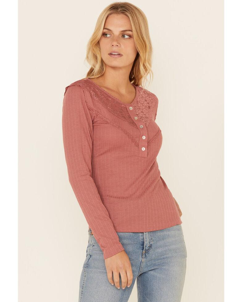 Luna Chix Women's Ribbed Lace Trim Long Sleeve Henley Shirt , , hi-res