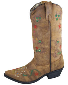 "Smoky Mountain Women's 11"" Florence Western Boots - Snip Toe, Distressed Brown, hi-res"