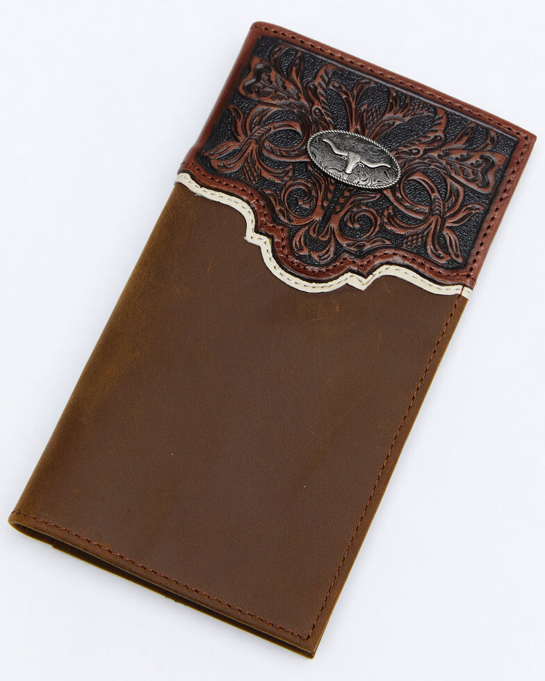 Cody James Men's Tooled Rodeo Wallet, Brown, hi-res