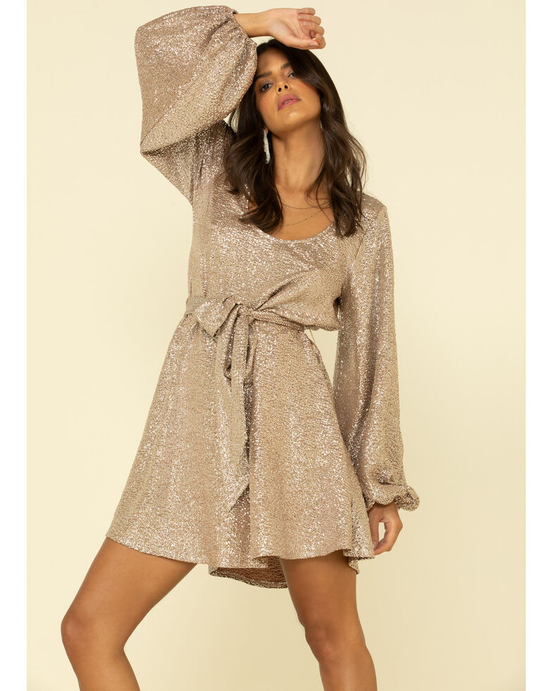 Show Me Your Mumu Women's Silver Liv Mini Dress , Silver, hi-res