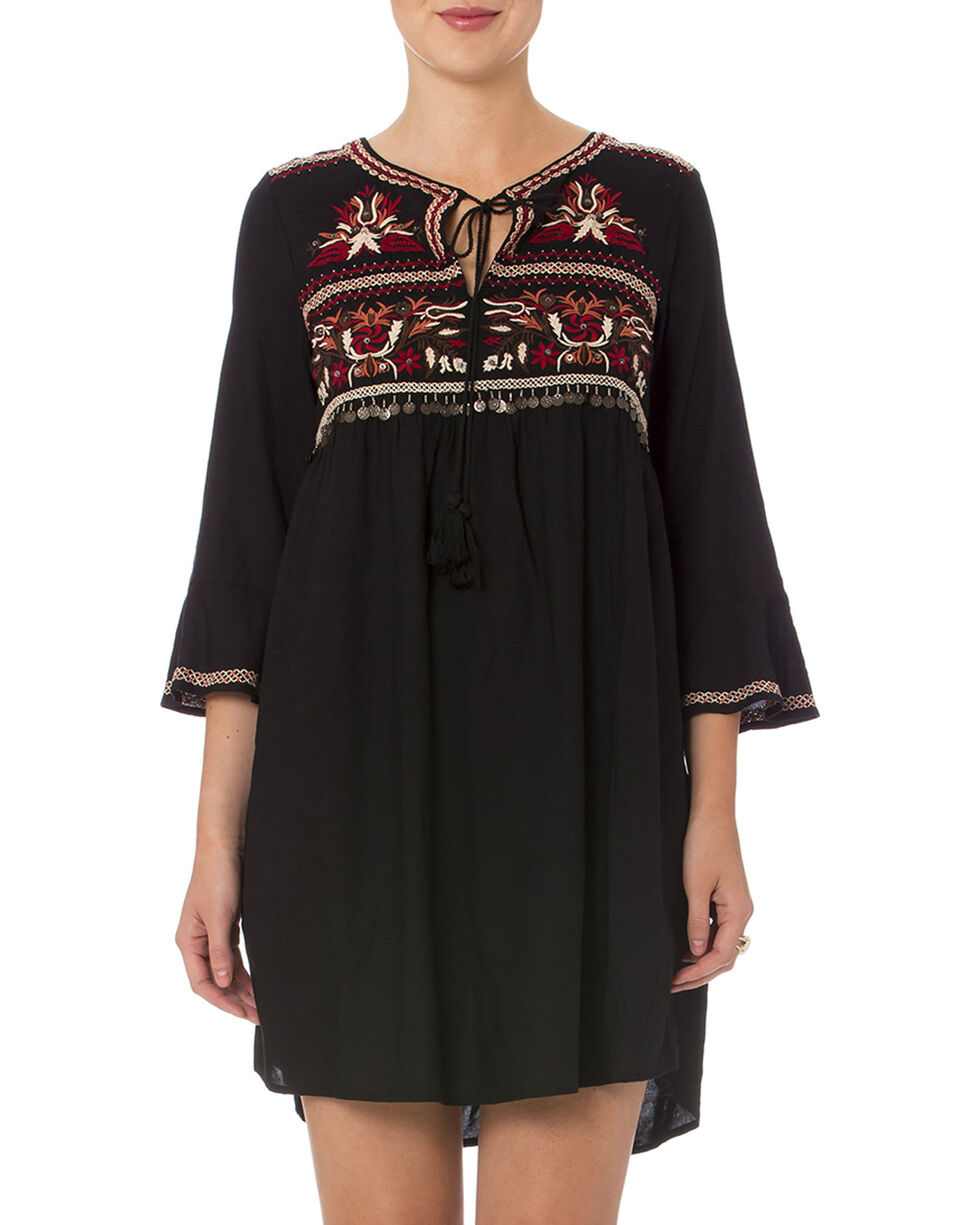 Miss Me Women's Black Embroidered Peasant Dress , Black, hi-res