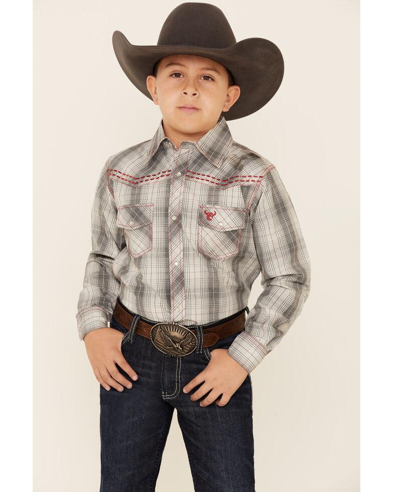 Cowboy Hardware Boys' Grey Plaid Long Sleeve Western Shirt , Grey, hi-res