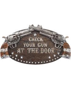 Boot Barn Ranch Check Your Gun Wall Sign, Brown, hi-res