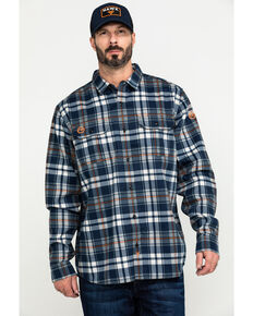 Hawx Men's Blue FR Plaid Long Sleeve Woven Work Shirt - Big , Blue, hi-res