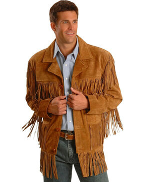 Liberty Wear Men's Tobacco Suede Fringe Jacket, Brown, hi-res