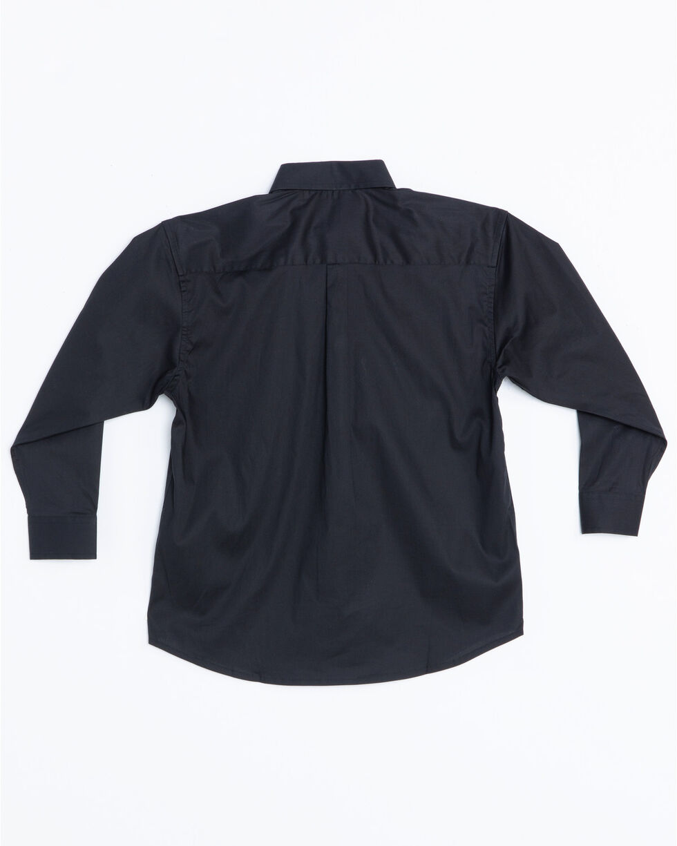 Panhandle Boys' Solid Button Down Stretch Long Sleeve Shirt , Black, hi-res