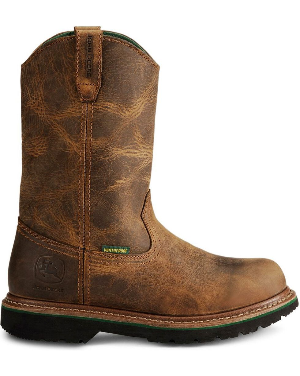 "John Deere® Men's 10"" Waterproof Boots, Oak, hi-res"