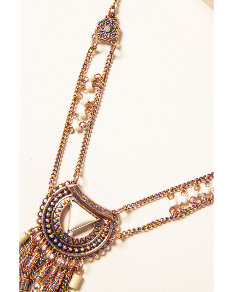 Shyanne Women's Desert Dreams Multi Layer Aztec Fringe Necklace , Rust Copper, hi-res
