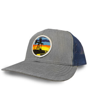 Oil Field Men's Sunset Logo Patch Grey Trucker Cap, Grey, hi-res