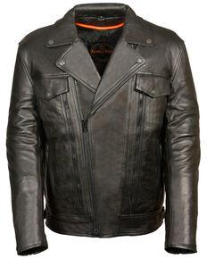 Milwaukee Leather Men's Utility Pocket Motorcycle Jacket - 3X, Black, hi-res