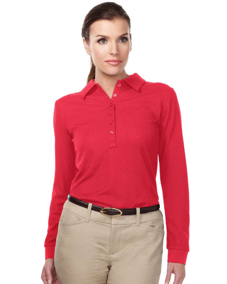 Tri-Mountain Women's Red 4X Stamina Long Sleeve Polo - Plus, Red, hi-res