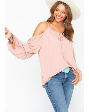 Wrangler Women's Blush Cold Shoulder Peasant Top, Blush, hi-res