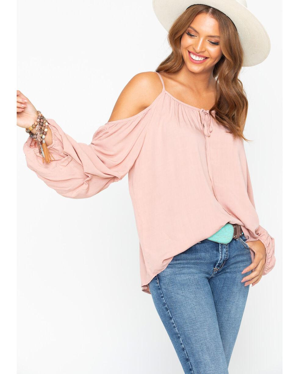 Wrangler Women's Blush Cold Shoulder Peasant Top, Blush, hi-res