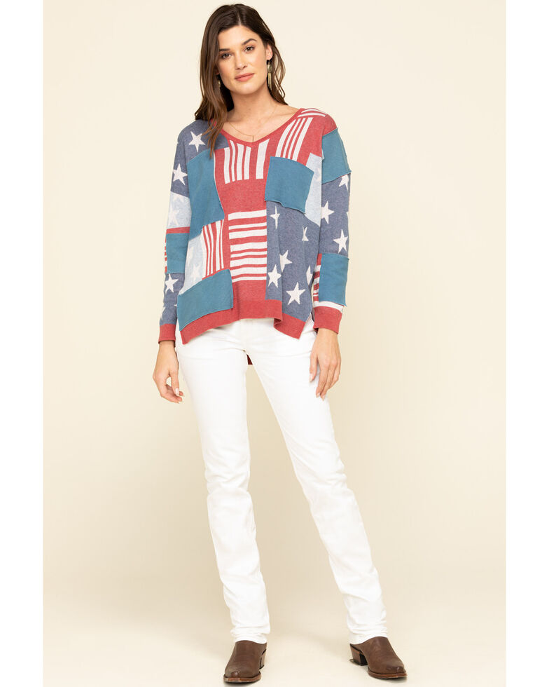 Tasha Polizzi Women's Flag Patch Pullover, Multi, hi-res