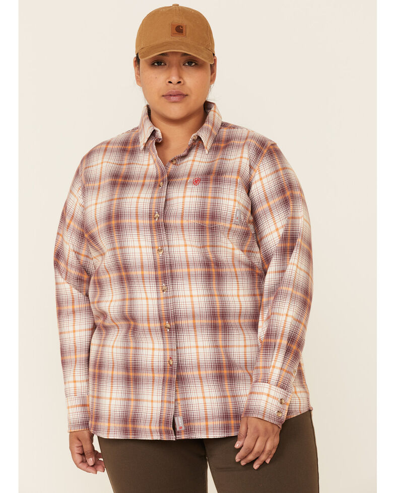 Ariat Women's FR Bria Plaid Long Sleeve Button-Down Work Shirt - Plus, Burgundy, hi-res