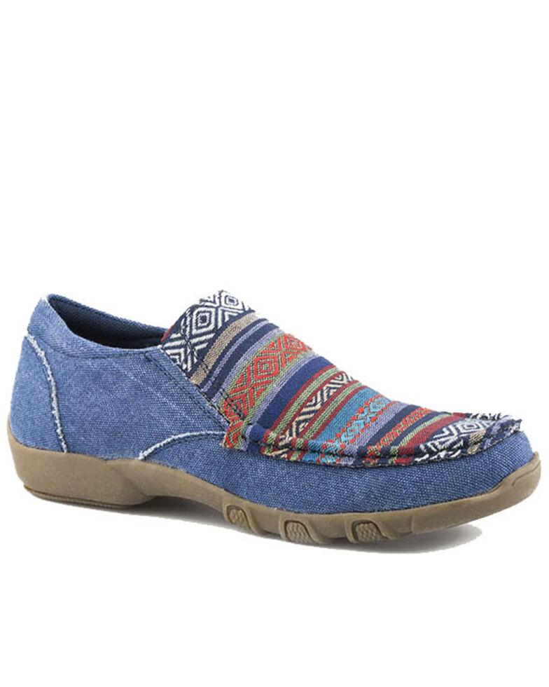 Roper Women's Southwestern Design Vamp Slip-On Shoes - Moc Toe, Blue, hi-res