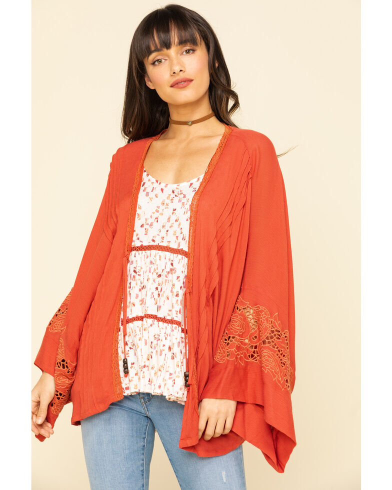 Miss Me Women's Rust Tie Front Bell Sleeve KImono  , Rust Copper, hi-res