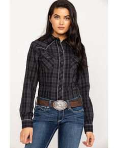 Roper Women's Plaid Guitar Embroidered Long Sleeve Western Shirt, Black, hi-res