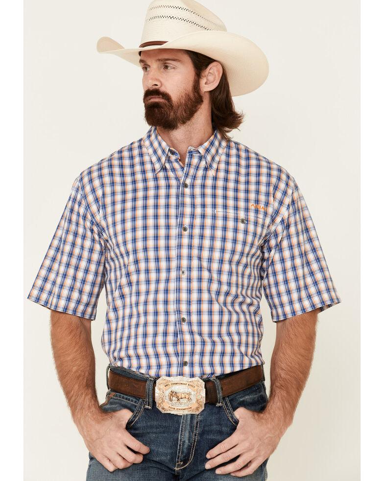 Ariat Men's Navy Checkered Vent Tek Short Sleeve Button-Down Western Shirt - Tall, Navy, hi-res
