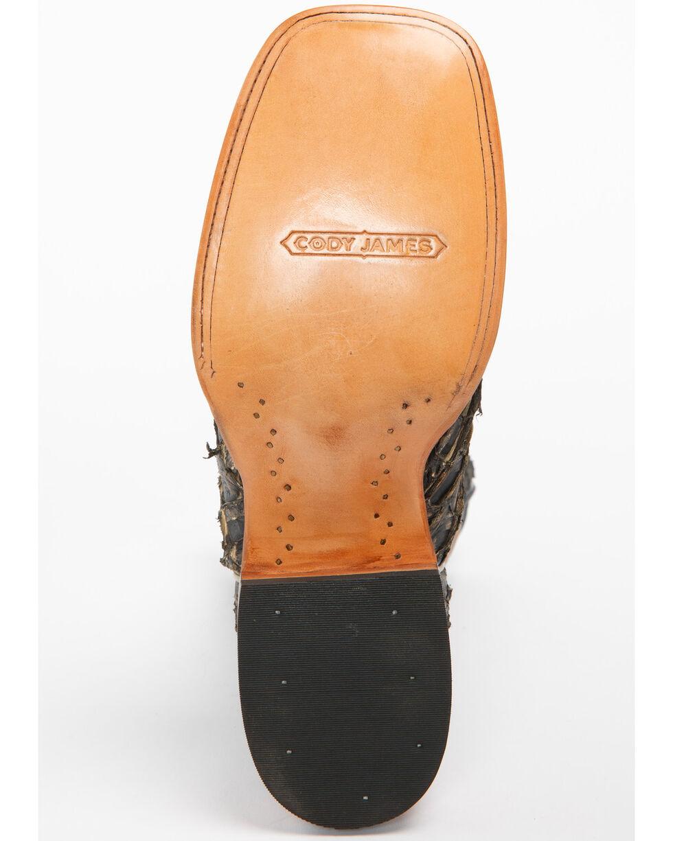 Cody James Men's Exotic Pirarucu Western Boots - Wide Square Toe, Black, hi-res