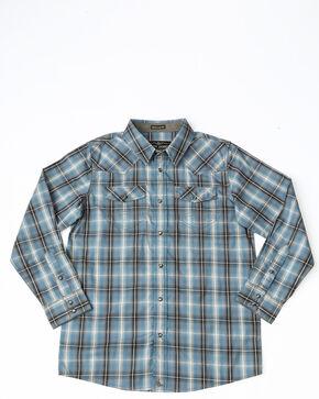 Cody James Boys' Ringo Ombre Plaid Long Sleeve Western Shirt , Brown, hi-res