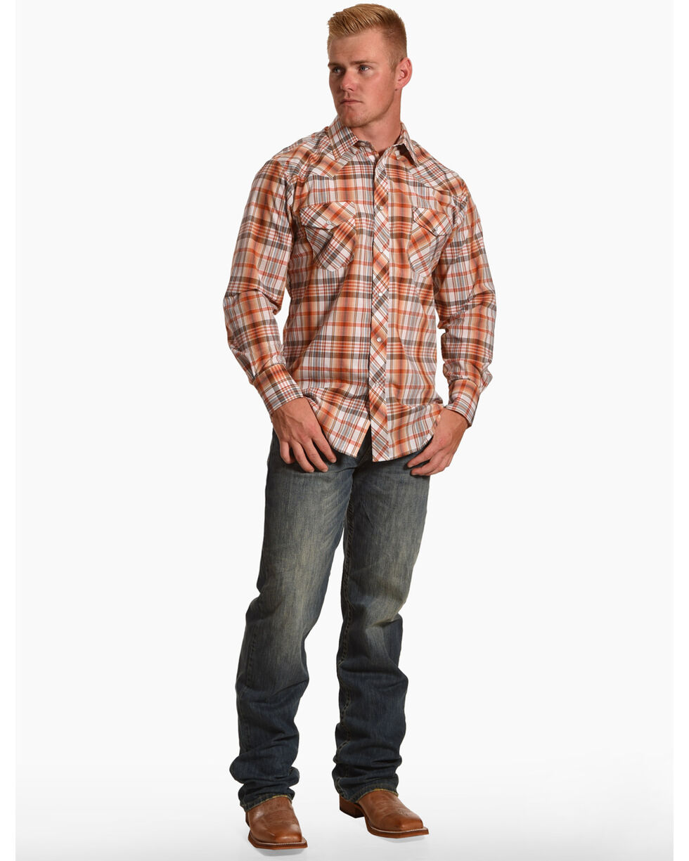 Roper Men's Rust & Cream Plaid Long Sleeve Western Snap Shirt, Medium Red, hi-res