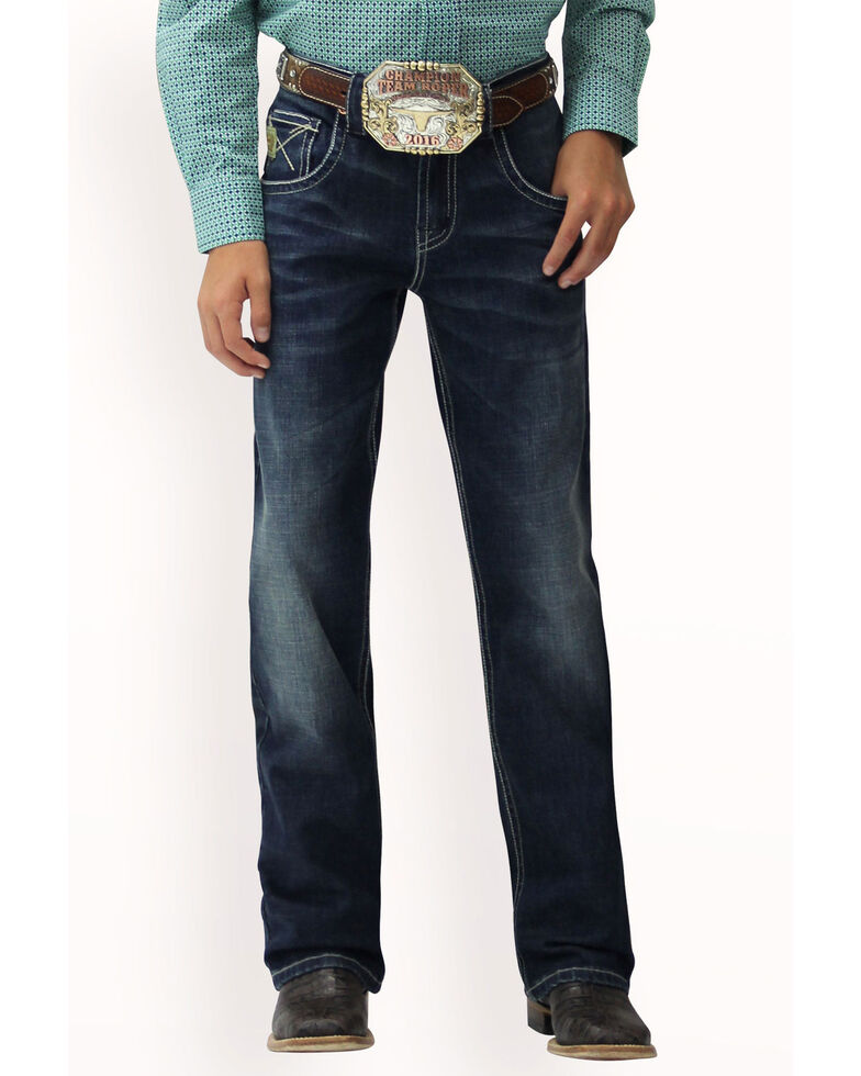 Cinch Boys' Relaxed Medium Stone Boot Jeans , Indigo, hi-res