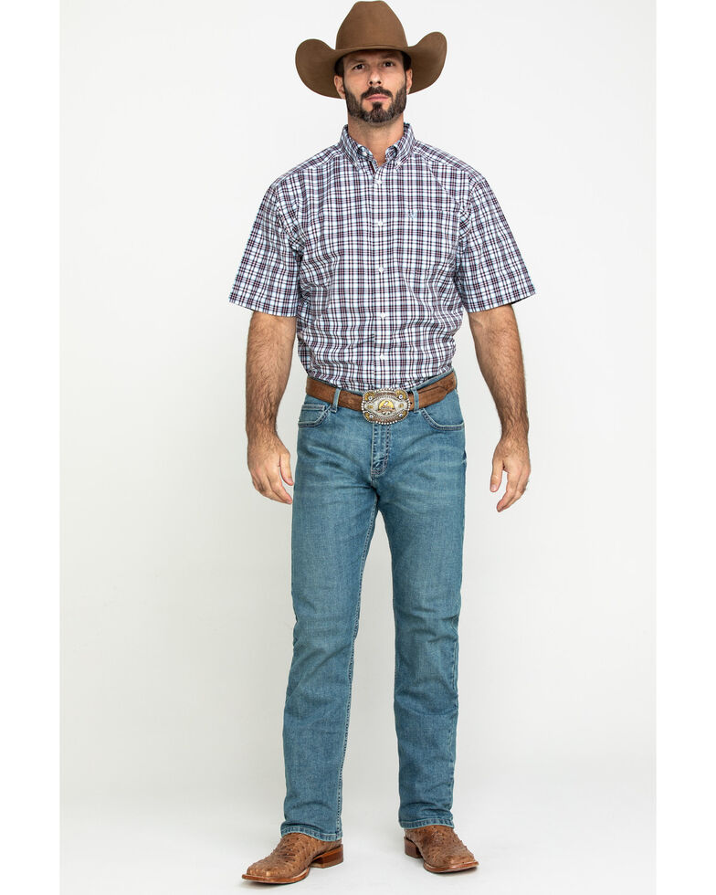Ariat Men's Leeds Med Plaid Short Sleeve Western Shirt - Tall , Multi, hi-res
