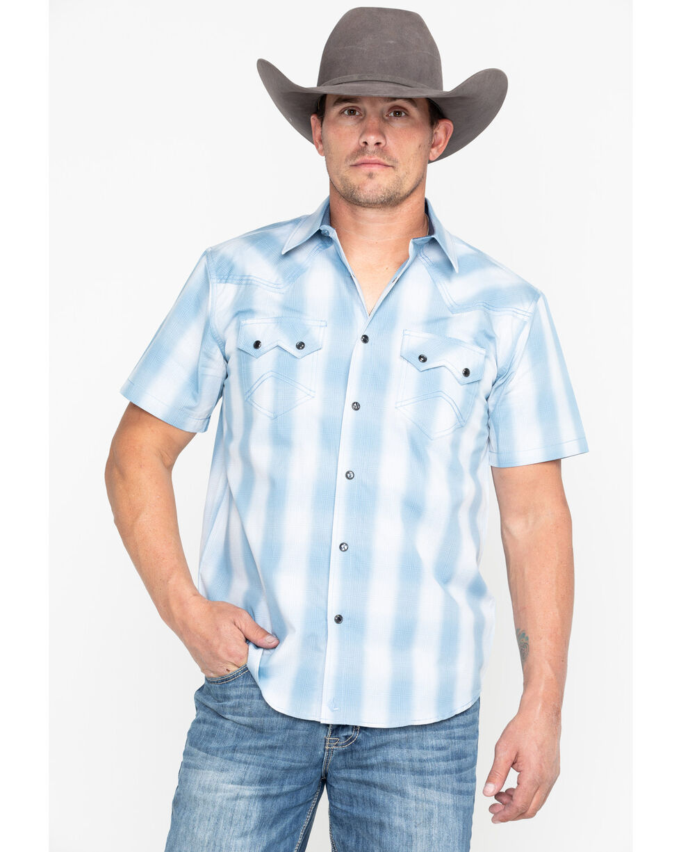 Cody James Men's Still Waters Ombre Plaid Short Sleeve Western Shirt - Tall , Light Blue, hi-res